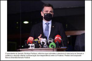 Pacheco rejeita pedido de Bolsonaro por impeachment de Moraes