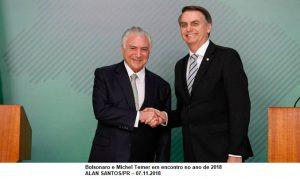 Após encontro com Temer, Bolsonaro fala em pacificação